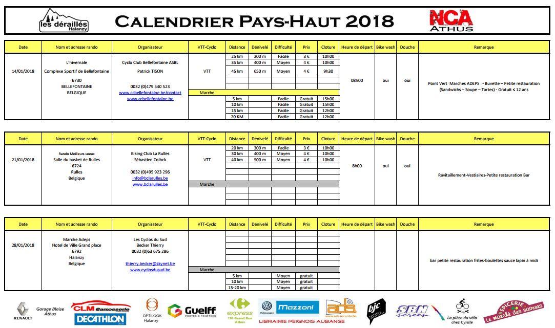 CALENDRIER DU PAYS-HAUT 2018